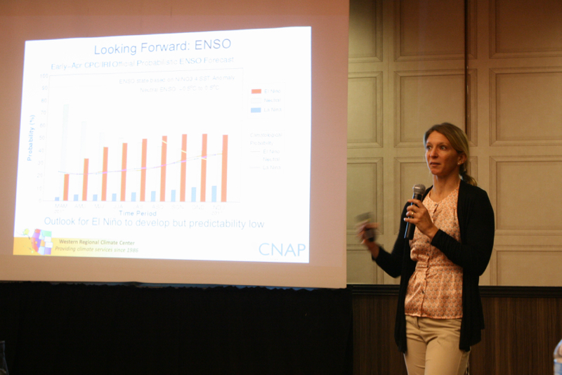 Nina Oakley, Regional Climatologist with the Western Regional Climate Center, speaks at NWAL's Climate Resilience Workshop on May 9, 2017.