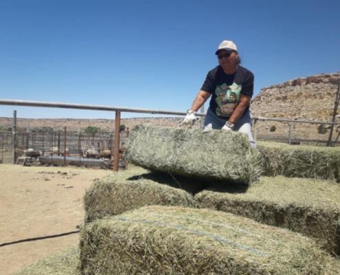 Hay delivery at Hopi Reservation